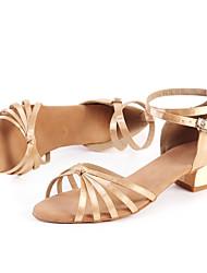 Damer Latin Jazz Moderne Salsa Swingsko Satin Sandaler Indendørs Optræden Begynder Spænde Lave hæle Gylden 3 cm Kan tilpasses