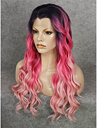 IMSTYLE 24Popular Pink Red Ombre Synthetic Lace Front Wigs Natural Black Root