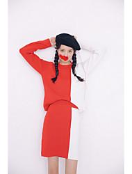 cheap -Women's Blouse Set - Color Block Patchwork, Patchwork Skirt