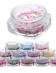 abordables -12 pcs Kit de uñas arte de uñas Manicura pedicura Diario Glitters / Moda