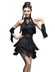 cheap -Latin Dance Dresses / Shorts Women's Performance Nylon / Chinlon Tassel / Crystals / Rhinestones Sleeveless High Dress / Gloves