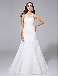 A-Line Illusion Neckline Sweep / Brush Train Lace Satin Wedding Dress with Appliques Button by LAN TING BRIDE®