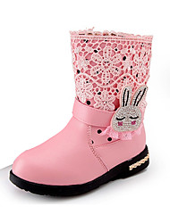 cheap -Girls' Shoes PU Winter Comfort / Snow Boots Boots Walking Shoes Beading / Zipper for Black / Red / Pink