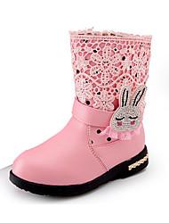 お買い得  -女の子 靴 PUレザー 冬 コンフォートシューズ / スノーブーツ ブーツ ウォーキング ビーズ / ジッパー のために ブラック / レッド / ピンク