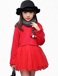 Robe Fille de Brodée / Imprimé Décontracté / Quotidien Coton Hiver / Toutes les Saisons / Printemps / Automne Rose / Rouge / Gris