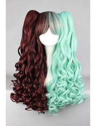 cheap -Green Brown Mixed 70cm Long Braid Wave High Quality Synthetic Party Cosplays Lolita Wig