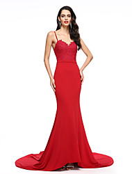 cheap -Mermaid / Trumpet Spaghetti Straps Court Train Chiffon Formal Evening Dress with Pleats by TS Couture®