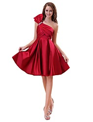A-Line One Shoulder Knee Length Satin Bridesmaid Dress with Bow by XFLS