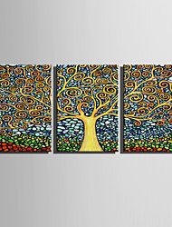 cheap -E-HOME Stretched Canvas Art Fantastic Trees Decoration Painting  Set Of 3