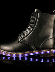 LED Light Up Shoes,Unisex Winter Boots Fall / Winter Fashion Boots Synthetic Outdoor / Casual Flat Heel Black / Brown