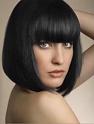 прекрасный юношеский новое поступление средний прямой монолитным парики человеческих волос парик с челкой полной
