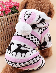 cheap -Cat Dog Hoodie Jumpsuit Pajamas Dog Clothes Cute Keep Warm Christmas Reindeer Gray Brown Blue Pink Costume For Pets