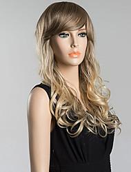 cheap -Long Inclined Bang Fluffy Wavy Human Hair Wig