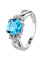 cheap -Women's AAA Cubic Zirconia Ring - Zircon, Cubic Zirconia Simple Style, Fashion 6 / 7 / 8 / 9 / 10 Blue / Light Blue For Wedding Party Engagement