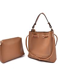 economico -Donna Sacchetti PU (Poliuretano) sacchetto regola Set di borsa da 2 pezzi per Casual Per tutte le stagioni Nero Grigio Marrone Rosso Rosa