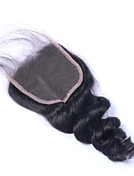 cheap -3.5x4 Closure Classic / Loose Wave Middle Part / 3 Part / Side Part Swiss Lace Human Hair Daily