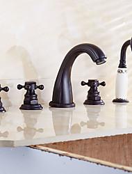 Antico Tradizionale Modern Vasca e doccia Saliscendi Separato with  Valvola in ottone Tre maniglie cinque fori for  Rame anticato ,