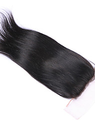 cheap -3.5x4 Closure Straight / Classic Middle Part / 3 Part / Side Part Swiss Lace Human Hair Daily
