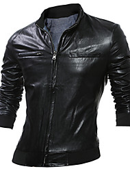 cheap -Men's Daily Casual Leather JacketsSolid Stand Long Sleeve Fall / Winter Black / Gray PU Thick
