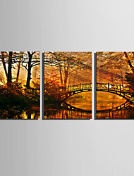 cheap -Stretched Canvas Print Landscape Three Panels Vertical Print Wall Decor Home Decoration