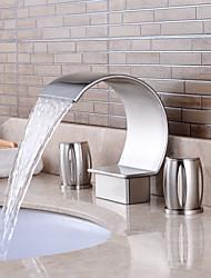 economico -Lavandino rubinetto del bagno - Saliscendi / Separato Nickel spazzolato A 3 fori Due manopole Un foro