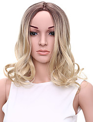 Medium Long Wavy Wig with Light Brown and Blonde Colors Synthetic Wigs for Women