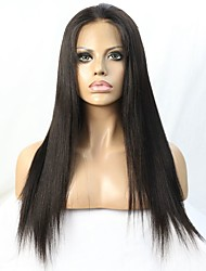 cheap -Virgin Brazilian Hair Natural Color Yaki Straight Glueless Lace Front Wig