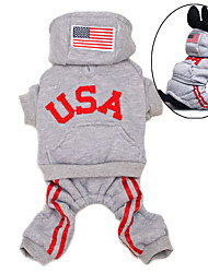 Dog Hoodie Clothes/Jumpsuit Red Black Pink Gray Dog Clothes Winter Spring/Fall American/USA Sports Fashion