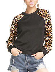 Women's Casual/Daily Active Simple Sweatshirt Leopard Round Neck Stretchy Cotton Long Sleeve Fall Winter