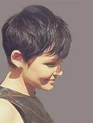 Modische vorherrschende schwarze kurze Haare Menschenhaar Perücke