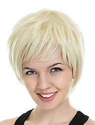Short Bob Side Bang Kinky Straight Synthetic Wigs for Women  Blonde Heat Resistant Cosplay Hair