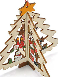 cheap -Carved Wooden Pendant Christmas Tree Window  Pattern Is Random