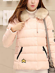 Women's Regular Padded Coat,Simple Casual/Daily Solid-Polyester Cotton Long Sleeve Hooded Pink / Black / Gray