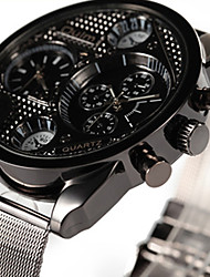 Oulm Men's Fashion Dual Time Zones Quartz Casual Watch Big Round Alloy Dial Watch Cool Watch Unique Watch