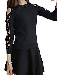 Standard Pullover Da donna-Per uscire Casual Semplice Moda città Tinta unita Girocollo Manica lunga Cotone Poliestere Autunno Inverno
