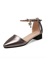 Women's Sandals Spring Summer Fall Comfort PU Casual Low Heel Buckle Gray Gold