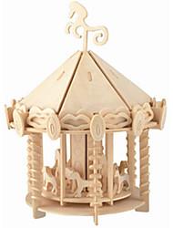 economico -Puzzle Modellini di legno Costruzioni Giocattoli fai da te Architettura Cinese 1 Legno Avorio