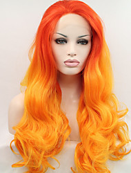 cheap -Sylvia Synthetic Lace front Wig On Fire Orang Yellow Hair Ombre Hair Heat Resistant Long Natural Wave Synthetic Wigs