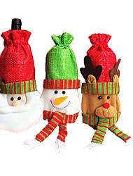 Natale rosso ornamento vecchi sacchetti vino della bottiglia Babbo Natale alce disegno pupazzo di neve per la decorazione della tavola