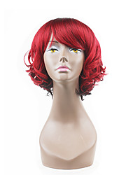 abordables -Pelucas sintéticas Ondulado Con flequillo Pelo sintético Rojo Peluca Mujer Sin Tapa