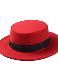 Autumn And Winter Ladies England Retro Flat - top Solid Color Wool Bowknot Dome  Hat