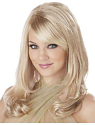 cheap -fashion long wavy blonde color wig with bangs synthetic wig caps for women