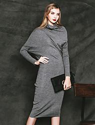 Gaine Robe Femme Décontracté / Quotidien simple,Couleur Pleine Col Roulé Mi-long Manches Longues Noir Gris Coton Autres Automne Hiver