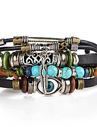Men's Women's Leather Bracelet Wrap Bracelet Personalized Vintage Adjustable Fashion Plaited Leather Turquoise Alloy Leaf Evil Eye Jewelry
