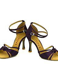 cheap -Women's Latin Shoes / Salsa Shoes Satin Sandal / Heel Buckle / Ribbon Tie Customized Heel Customizable Dance Shoes Yellow / Fuchsia / Purple / Performance / Leather / Professional
