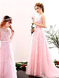 preiswerte -A-Linie V-Ausschnitt Boden-Länge Tüll Charmeuse Formeller Abend Kleid mit Perlenstickerei Blume(n) Schärpe / Band Pailletten durch