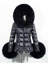 cheap -Women's Regular Padded Coat,Casual Street chic Daily Going out Solid-Faux Fur Cotton Cotton Long Sleeves Hooded