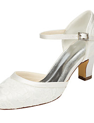 Women's Heels Spring / Fall  Stretch Satin Wedding / Party & Evening / Dress Chunky Heel Crystal Ivory / White