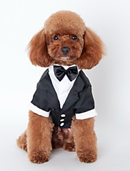 cheap -Cat Dog Tuxedo Dog Clothes Bowknot Black Cotton Costume For Pets Men's Cute Cosplay Wedding