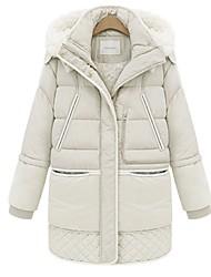 Damen Gefüttert Mantel,Lang Einfach Übergröße Solide-Baumwolle Polypropylen Langarm Mit Kapuze